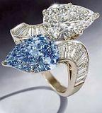 Кольцо с голубым и белым бриллиантами